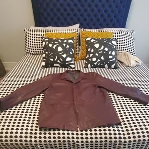 Burgundy Kenneth Cole Leather Coat Size 2XL